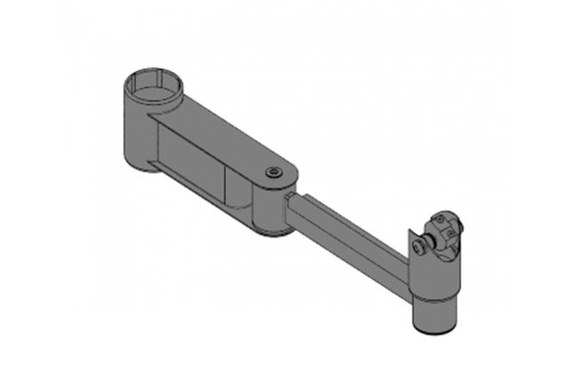 Swivel arm for mounting pole, length 200+200 mm